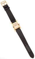 Luxury Accessories:Accessories, Hermes Classic H-Hour Watch with Black Epsom Leather Band and GoldPlated Face. ...