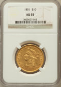 Liberty Eagles: , 1851 $10 AU55 NGC. NGC Census: (56/50). PCGS Population (6/13).Mintage: 176,328. Numismedia Wsl. Price for problem free NG...