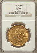 Liberty Double Eagles: , 1867-S $20 AU53 NGC. NGC Census: (161/401). PCGS Population(46/92). Mintage: 920,750. Numismedia Wsl. Price for problem fr...