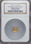 Expositions and Fairs, 1915 Panama-Pacific Exposition, California Minerva Round Quarter MS64 NGC....