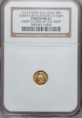 California Gold Charms, 1915 California Minerva Round Half MS67 NGC. 0.47 gm. Hart's Coins of the West. Eureka / Bear....