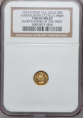 California Gold Charms, 1915 California Minerva Octagonal Half MS67 NGC. 0.48 gm. Hart's Coins of the West. Bear Reverse....