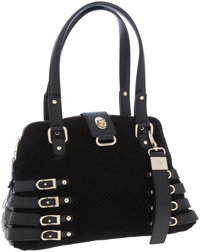Jimmy Choo Black Perforated Suede Bree Tote Bag