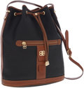 Luxury Accessories:Accessories, Balenciaga Black Monogram Coated Canvas Drawstring Bag with BrownLeather Trim. ...