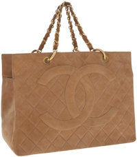 Chanel Camel Quilted Suede Grand Shopper Tote Bag with Gold Hardware