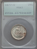 Seated Quarters, 1877-S 25C MS62 PCGS. PCGS Population (49/211). NGC Census:(40/190). Mintage: 8,996,000. Numismedia Wsl. Price for problem...