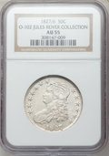 Bust Half Dollars, 1827/6 50C O-102, R.1 AU55 NGC. Ex: Jules Reiver Collection. NGCCensus: (11/46). PCGS Population (25/58). Numismedia Wsl....
