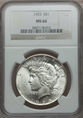 Peace Dollars: , 1925 $1 MS66 NGC. NGC Census: (1738/68). PCGS Population (1508/85).Mintage: 10,198,000. Numismedia Wsl. Price for problem ...
