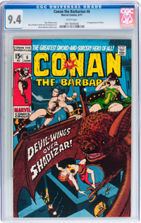 Conan the Barbarian #6 (Marvel, 1971) CGC NM 9.4 White pages