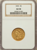 Liberty Half Eagles: , 1855 $5 AU58 NGC. NGC Census: (53/27). PCGS Population (21/21).Mintage: 117,098. Numismedia Wsl. Price for problem free NG...