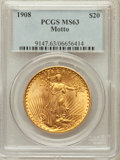 Saint-Gaudens Double Eagles: , 1908 $20 Motto MS63 PCGS. PCGS Population (682/600). NGC Census:(443/285). Mintage: 156,200. Numismedia Wsl. Price for pro...