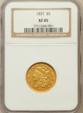 Classic Half Eagles: , 1837 $5 XF45 NGC. NGC Census: (71/306). PCGS Population: (55/145). CDN: $950 Whsle. Bid for problem-free NGC/PCGS XF45. Min...