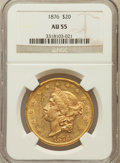 Liberty Double Eagles: , 1876 $20 AU55 NGC. NGC Census: (241/1717). PCGS Population(226/1007). Mintage: 583,905. Numismedia Wsl. Price for problem ...