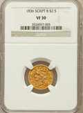 Classic Quarter Eagles: , 1836 $2 1/2 Script 8 VF30 NGC. NGC Census: (33/1283). PCGSPopulation (24/512). Mintage: 547,986. Numismedia Wsl. Price for...