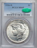 Peace Dollars: , 1926-D $1 MS65 PCGS. CAC. PCGS Population (661/194). NGC Census:(488/106). Mintage: 2,348,700. Numismedia Wsl. Price for p...