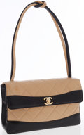 Luxury Accessories:Bags, Chanel Black and Beige Quilted Lambskin Leather Shoulder Bag. ...