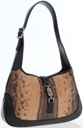 Luxury Accessories:Bags, Gucci Brown Python & Black Leather Jackie Shoulder Bag. ...