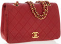 Luxury Accessories:Bags, Chanel Red Quilted Lambskin Leather Shoulder Bag with GoldHardware. ...