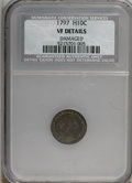Early Half Dimes, 1797 H10C 15 Stars--Damaged--VF20 NCS. VF Details. NGC Census:(8/129). PCGS Population (17/106). Mintage: 44,527. Numismed...