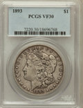 Morgan Dollars: , 1893 $1 VF30 PCGS. PCGS Population (72/5535). NGC Census:(79/3642). Mintage: 389,792. Numismedia Wsl. Price for problemfr...