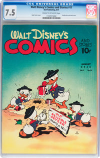 Walt Disney's Comics and Stories #11 (Dell, 1941) CGC VF- 7.5 Cream to off-white pages