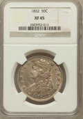 Bust Half Dollars: , 1832 50C Small Letters XF45 NGC. NGC Census: (200/1525). PCGSPopulation (277/1402). Mintage: 4,797,000. Numismedia Wsl. Pr...