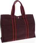 Luxury Accessories:Bags, Hermes Rouge H and Brick Canvas Fourre Tout Tote Bag. ...