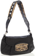 Luxury Accessories:Accessories, Prada Python & Black Leather Shoulder Bag with Embellished Strap . ...