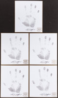 Football Collectibles:Others, Frank Gifford Signed Original Handprints Lot of 5. ...