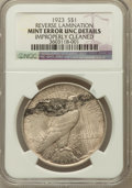 Errors, 1923 $1 Please Dollar -- Reverse Lamination Improperly Cleaned --NGC Details. UNC. NGC Census: (122/259713). PCGS Populat...