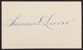 Baseball Collectibles:Others, Sam Leever Signed Index Card....