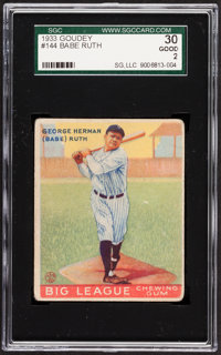 1933 Goudey Babe Ruth #144 SGC 30 Good 2