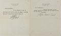 Autographs:Authors, Stephen Vincent Benét, American Writer. Group of Two Typed LettersSigned. Both with a single horizontal crease and mild ton...