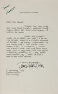 Autographs:Authors, James Gould Cozzens, American Writer. Typed Letter Signed.Horizontal crease. Near fine....