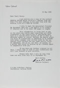 Autographs:Authors, Erskine Caldwell, American Writer. Typed Letter Signed. Twohorizontal creases, else fine....
