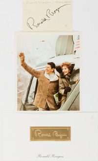 Ronald Reagan, 40th President of the United States. Clipped Signature. Also included is a small photographic image an