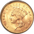 Three Dollar Gold Pieces, 1855 $3 MS64+ PCGS. CAC....