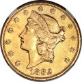 Liberty Double Eagles, 1882 $20 -- Improperly Cleaned -- NGC Details. AU....