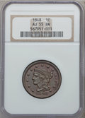 Large Cents: , 1848 1C AU55 NGC. NGC Census: (52/425). PCGS Population (29/169).Mintage: 6,415,799. Numismedia Wsl. Price for problem fre...