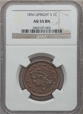 Large Cents: , 1856 1C Upright 5 AU55 NGC. NGC Census: (51/754). PCGS Population(47/329). Mintage: 2,690,463. Numismedia Wsl. Price for p...