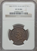 Large Cents: , 1843 1C Petite Head, Small Letters VF35 NGC. NGC Census: (2/186).PCGS Population (8/132). Mintage: 2,425,342. ...