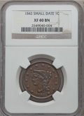 Large Cents: , 1842 1C Small Date XF40 NGC. NGC Census: (3/28). PCGS Population(2/28). Numismedia Wsl. Price for problem free NGC/PCGS c...