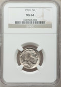 Buffalo Nickels: , 1916 5C MS64 NGC. NGC Census: (728/398). PCGS Population (987/661).Mintage: 63,498,064. Numismedia Wsl. Price for problem ...