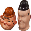 Movie/TV Memorabilia:Memorabilia, A Laurel & Hardy Set of Salt and Pepper Shakers, Circa1940s.... (Total: 2 Items)
