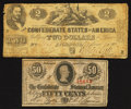 Confederate Notes:1862 Issues, T42 $2 1862 PF-5 Cr. 337. T63 50¢ 1863 PF-6 Cr. 488.. ... (Total: 2notes)
