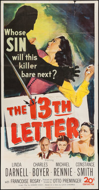 "The 13th Letter (20th Century Fox, 1951). Three Sheet (41"" X 79""), Title Lobby Cards (2) & Lobby Cards..."