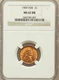 Lincoln Cents: , 1909 VDB 1C MS62 Red and Brown NGC. NGC Census: (102/2906). PCGSPopulation (88/4240). Mintage: 27,995,000. Numismedia Wsl....