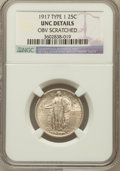 Standing Liberty Quarters, 1917 25C Type One -- Obv scratched -- NGC Details. UNC. NGC Census:(3/1135). PCGS Population (19/1563). Mintage: 8...