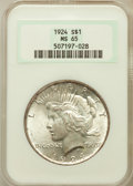 Peace Dollars: , 1924 $1 MS65 NGC. NGC Census: (7395/1463). PCGS Population(2932/562). Mintage: 11,811,000. Numismedia Wsl. Price for probl...