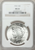 Peace Dollars: , 1923 $1 MS65 NGC. NGC Census: (34500/3079). PCGS Population(15159/1757). Mintage: 30,800,000. Numismedia Wsl. Price for pr...